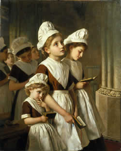 Foundling Girls at Prayer in the Chapel - © Coram Family in the care of the Foundling Museum